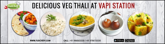 veg-thali in train at vapistation